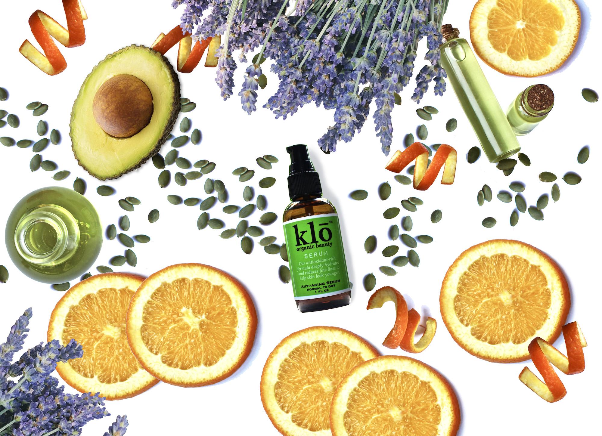 Klō Organic Beauty serum with cut citrus, avocado, and lavender