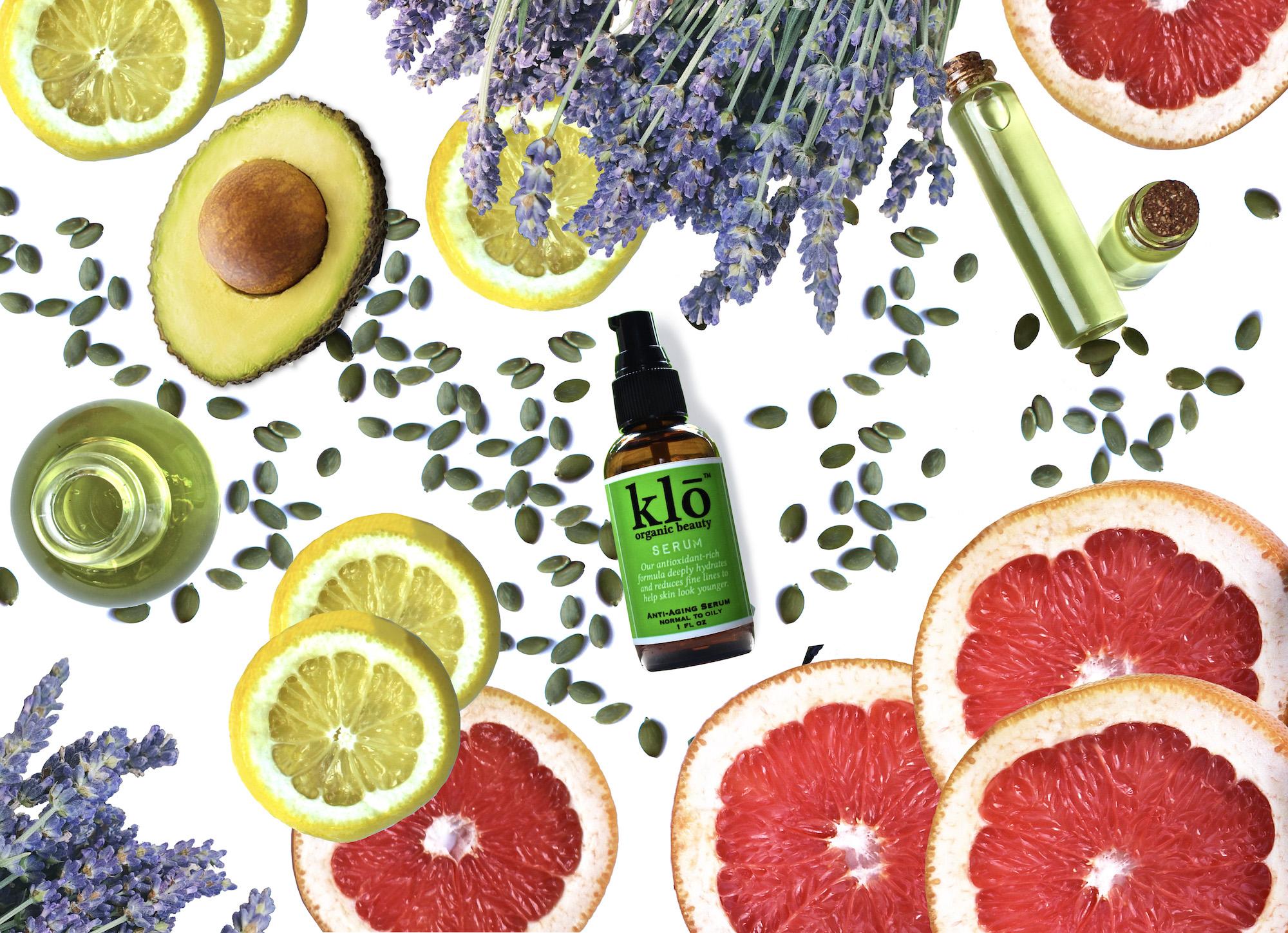 Klō Organic Beauty serum with cut citrus, avocado and lavender
