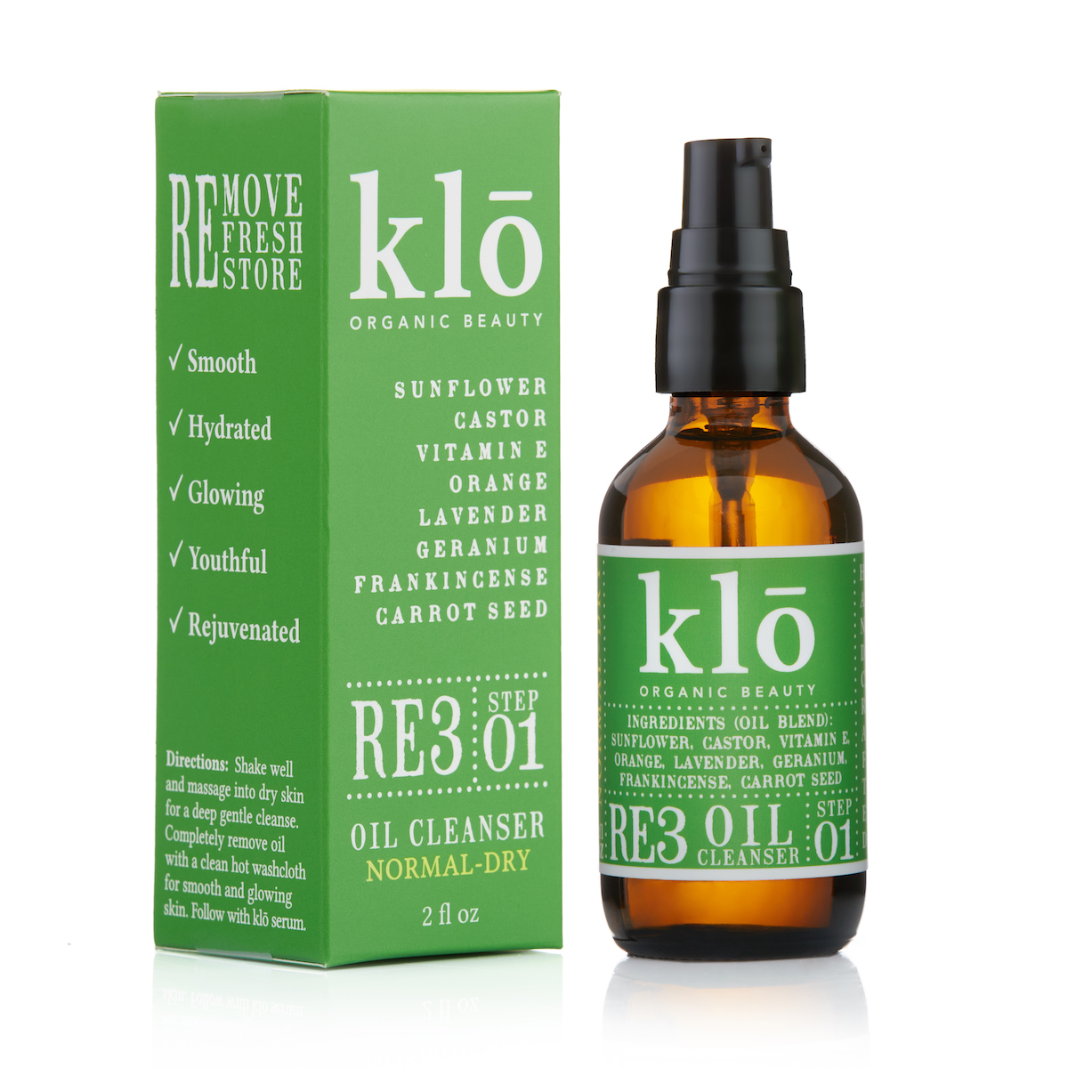 Klo Organic Beauty RE3 Oil Cleanser for Normal-Dry Skin